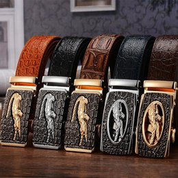 Wholesale free 3d animals - Luxury Mens Alligator Embossed Plaque Buckle Cowskin Genuine Leather Ratchet Belt 3D Crocodile Pattern Jeans Belts For Men Free Shipping