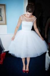 Wholesale Tea Length Polka Dot Dress - 50s Vintage Short Wedding Dresses Polka Dot Tea Length Bridal Gowns Simple Sleeveless 60s Informal Wedding Gowns