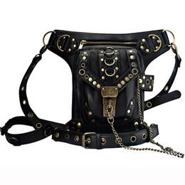 Wholesale holster sales - Hot sale PU Leather Punk Retro Rock Gothic Shoulder Bags Men women Leather Waist Fanny Pack Female Messenger Holster Leg Bag