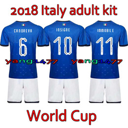 Wholesale Italia Football - Italia Adult Kits 2018 World Cup Home soccer jersey 17 18 De Rossi Bonucci Verratti Chiellini INSIGNE Belotti Jerseys italy Football shirts