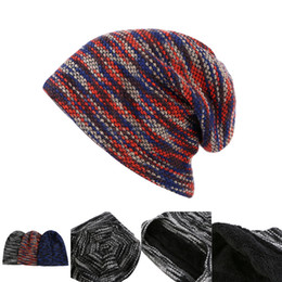 3584815de06a2c Winter Warm Beanie hat with cashmere 3 colors Stripe Knitted Beanie Hats  Beanie Skully Caps Winter Outdoor Warm Hat DHL LA997