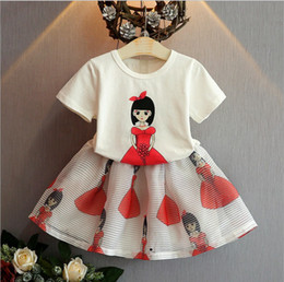 wholesale mandarin suits Coupons - 2018 new gilr's printed baby girl outfits children summer clothing set kids cotton T-shirt top+skirts 2pcs suit