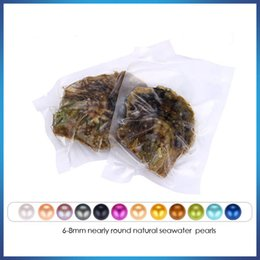 Wholesale mystery black - Free shipping 2018 round DIY akoya oyster Jewelry 6-7 mm 25color Seawater pearl oyster as mystery gift with Vacuum Package Wholesale
