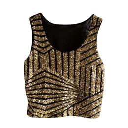 Wholesale Yellow Tank Top Sequins - Female Blusas Feminino Sequin Tank Top O-Neck Sleeveless Fashion Camisole Vest Crop Tops