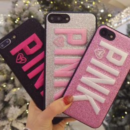 Wholesale pink phone covers - PINK Cover Fashion Design Glitter 3D Embroidery Love Pink Phone Case For iPhone X, iPhone 8, 7, 6 Plus for Samsung S9 S9 plus 9+