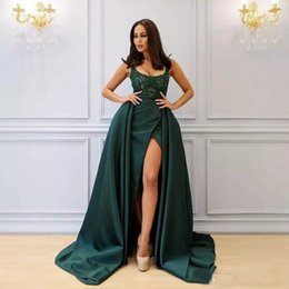 Wholesale Beaded Dress Slit Skirt - Yousef Aljasmi Hunter Green Formal Dresses Evening Wear Sexy Thigh-High Slits Detachable Skirt Lace Beaded Long 2018 Arabic Prom Party Gowns