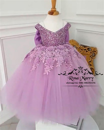 Wholesale blue strapless flower girl dresses - Luxury Pearls Purple Girls Pageant Dresses 2018 Ball Gown 3D Floral Knot Bow Princess Toddler Infant Little Girls Pageant Gown Size 10 Bow