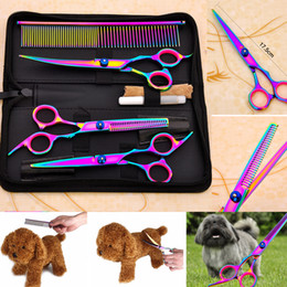 Wholesale dog grooming thinning shears - Pet Dog Cat Grooming Scissors Set Clippers Cutting Thinning Curved Straight Shears Fur Shaver Set Puppy Fur Trimmer Tool AAA392