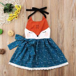 Wholesale cartoon chinese dresses - Cute Kids girls cartoon fox face dresses braces skirt backless princess party orange blue bowknot tutu lace dress girl clothes 1-6Y