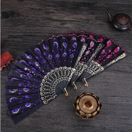 Wholesale Wind Tail - New hot sale Sequins plastic fan Chinese wind and dance fans Peacock tail fan Embroidered fan T4H0233