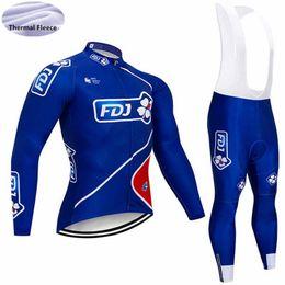 Fdj ciclismo manga larga online-2018 nuevo FDJ QUICK STEP equipo Ciclismo Jersey Set Invierno polar térmico de manga larga de la bicicleta Ropa Ciclismo Ropa de ciclismo ropa deportiva