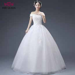 Wholesale Short Queen Dresses - ISER QUEEN Fashion A line Wedding Dress Lace Embroidery applique Batuae Short Sleeve Bow Belt Slim Style Chinese Cheap Bridal Gown Wx0061