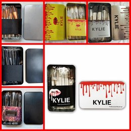 Wholesale hair gift boxes - NEW KYLIE Makeup Brushes Makeup Tools 12 piece Professional Brush sets Iron box Free shipping+GIFT