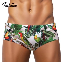 Wholesale Mens Polyester Boxers Shorts - Taddlee Brand Sexy Mens Swimsuits Swimwear Swim Boxer Trunks Shorts Surf Board Men Swimming Briefs Gay New Brazilian Classi Cut