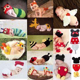 2019 roupas de malha para bebé recém-nascido Recém-nascido Crochet fotografia Bebê Recém-nascido Menina Menino Crochet Malha Traje Foto Fotografia Prop Chapéus Outfits roupas de malha para bebé recém-nascido barato