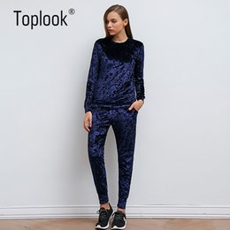 Wholesale Women Sexy Pants Bodysuit - Toplook Velvet Tracksuit Two Piece Set Women Sexy Pink Long Sleeve Top And Pants Bodysuit Suit Runway Fashion 2017 Trainingspak