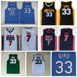 Wholesale Dream School - Indiana State Sycamores #33 Larry Bird College High School New Valley Baby Blue 1992 USA Dream Team Stitched Basketball Jerseys Shirts