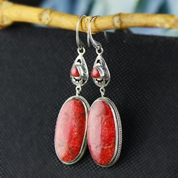 Orecchioni a corallo online-Earings Fashion Jewelry Products, Wind, Ancient Grass Coral Earrings, Long Female Temperament, Original 925 Jewelry Earrings.