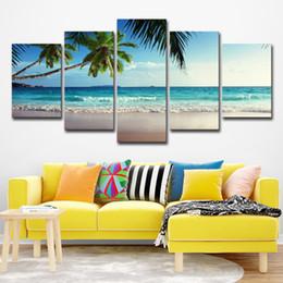 Pittura ad albero blu cielo online-Home Decor HD Poster stampato 5 pezzi Coconut Tree Blue Sky e Ocean Beach Seascape Wall Art Canvas Painting