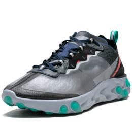 Rouleaux de qualité en Ligne-Élément de réaction 87 femmes hommes voile osseuse légère Chaussures à roulettes de haute qualité Signal Blue Green Mist Électrique Jaune Volt Université Rouge Chaussure de course