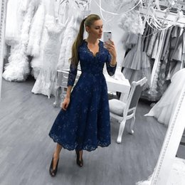 Wholesale Three Quarter Sleeve Prom Dress - 2018 Navy Blue Prom Dresses V Neck Lace Applique Beads Sequin Three Quarter Long Sleeves Tea Length Formal Party Wear Evening Gowns vestidos