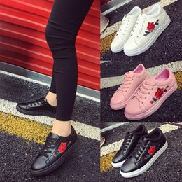 Wholesale Embroidered Shoes Flat - Fashion Casual Women Embroidered peony Flower Running lacing Sneakers Flat sole Trainers Female Shoes