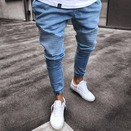 Wholesale Denim Pants Elastic Waist - Men's Stretchy Ripped Jeans Stretch Waist Skinny Biker Jeans Destroyed Taped Slim Fit Denim Pants Casual Trousers For Men