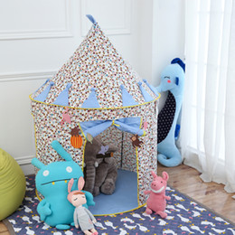 Wholesale Kids Play Teepee - Best Gift Blue Pink Prince Foldable Toy Kids Play Tent Children's Tent Castle Cubby Play House Teepee Toy For Children Kids