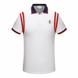 Wholesale Polo Shirt Designer - 2018 summer new designer luxury brand clothing men fabric striped polo embroidery bee t-shirt turn-down collar casual women tshirt tee shirt