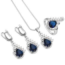 2019 silberne blaue halskette gesetzt GesamtverkaufClassic Trendy Krone Design Schmuck Blue CZ Zirkonia Ring Hochzeit Halskette Ohrring Set Silber Farbe Brautschmuck Sets rabatt silberne blaue halskette gesetzt