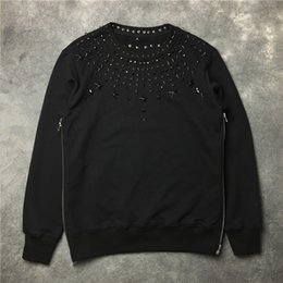 Wholesale Diamond Star Neck - 2018 autumn and winter three-dimensional metal black diamonds willow star male and female lovers loose neutral Sweatshirts