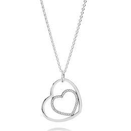 Cristal de plata esterlina online-925 Collar de Plata Esterlina para Las Mujeres Corazón A Corazón Colgante Collar Claro CZ Pave Cristales ajuste Señora Joyería