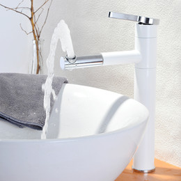Wholesale Painting Bathroom Faucets - Bathroom Basin Faucet Hot & Cold Mixer White Painted Basin Sink Tap Baking Finish Faucet torneira cozinha