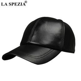 LA SPEZIA Gorra de béisbol de mujer de cuero negro Gorras de béisbol  ocasionales Hombres de cuero genuino Ajustable de otoño de alta calidad  Snapback ... 47ab06b9f2a
