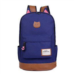 Wholesale New Stylish Girls - hot 2018 New Style Cute Cat Boys&girls Schoolbag Solid-colored Cat Ear Pack Stylish Laptop Bag Multi-functional Travel Bag