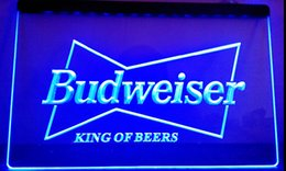 Wholesale Led Budweiser Signs - LS033-b Budweiser King Beer Bar Pub Club LED Neon Light Sign Decor Free Shipping Dropshipping Wholesale 8 colors to choose