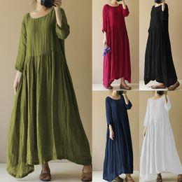4dd24f194f0f Celmia Oversized 2018 Women Linen Vintage Dress Pleated Casual Loose Boho  Beach Long Maxi Dresses Retro Vestido Robe Femme S-4XL