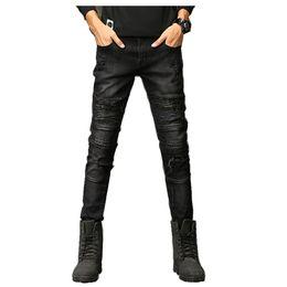 2018 New Fashion Jeans Hip hop rock moto mens designer clothes new fashion  distressed ripped skinny denim biker jeans men pants 3d87ff15d