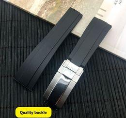 20 мм черный силиконовой резины ремешок для часов ремешок группы для природы роль мск Oyster-устрица Flex браслет от Поставщики алюминиевый