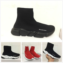Wholesale Cloth Women - Name Brand High Quality Unisex Casual Shoes Flat Fashion Socks Boots Woman New Slip-on Elastic Cloth Speed Trainer Runner Man Shoes Outdoors