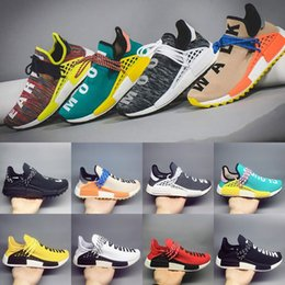 Wholesale Snow Boots For Mens - 2018 Newest Hu Human Race Trail Running Shoes For mens womens Pharrell Williams BLack White Yellow Red Nerd Sports sneakers size 36-47