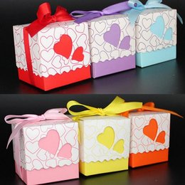 Wholesale Purple Baby Shower Favors - Wholesale- 20pcs Pink Purple Bule Yellow Orange Red Double Heart Gift Candy Boxes Wedding Favors and Gifts Baby Shower Party Decoration