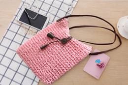 Bolsa de borla crochet on-line-Versão coreana do simples e generoso crochet saco de palha de borla inclinada de um ombro bolsas de tecido saco de praia