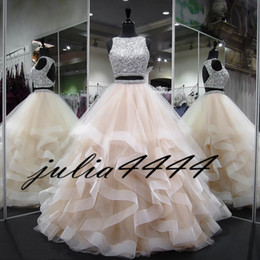 Wholesale turquoise organza dresses - Two Pieces Quinceanera Dresses Ball Gown Ruffles Crystals Pearls Ruffles Tulle 2018 Turquoise Pageant Gowns For Girls Prom Dress