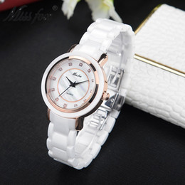 4d87f5f9fc4 Miss fox new waterproof branco relógio de cerâmica mulher moda senhoras de  luxo pulseira top marca de diamante escala relógio de quartzo feminino  senhoras ...