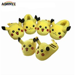 Wholesale Fluffy Animal Slippers - Adult Pikachu Slippers fluffy Shoes Cotton Warm Winter furry slides Plush Soft Cartoon Animal Cosplay Cute House Casual Home