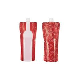 Sacchetti di bottiglia di vino in plastica online-Sacchetto di acqua potabile pieghevole di plastica Sacchetto di bottiglia portatile di vino Sacco di bottiglia di vino di Doypack di prova di perdita di viaggio infrangibile ZA6940