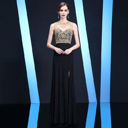 Sexy Black Abendkleid Side Split Sweep Zug Spandex Sheer Neck mit Gold Perlen Pailletten Zipper Zurück Prom Dress von Fabrikanten