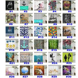 rideaux blanc noir rouge Promotion 236 Conception De Noël Rideau De Douche Creative 3D Impression Étanche Salle De Bains Rideau De Douche Décoration Avec Crochets 180 * 180 cm FWX9-143