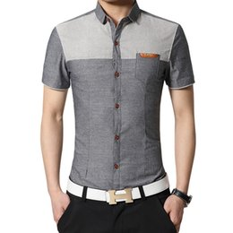 camicie formali sottili da uomo Sconti Camicia a maniche corte da uomo a maniche corte con bottoni slim fit color affari in cotone